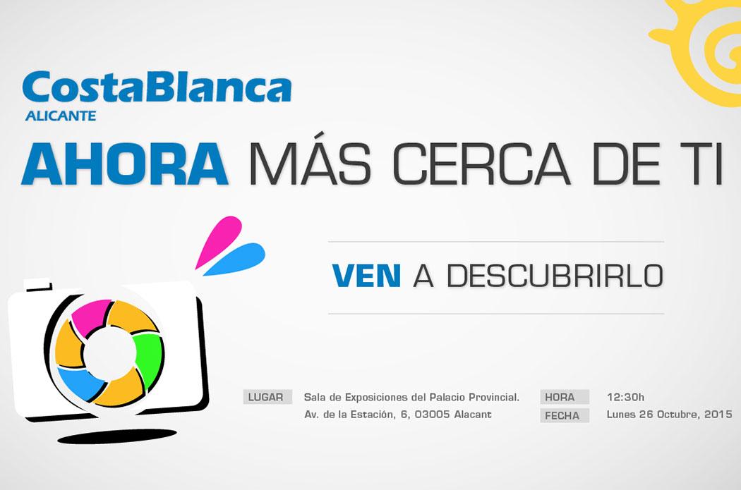 Anuncio de la presentación de la plataforma multimedia de la Diputación de Alicante, Costa Blanca Pro.